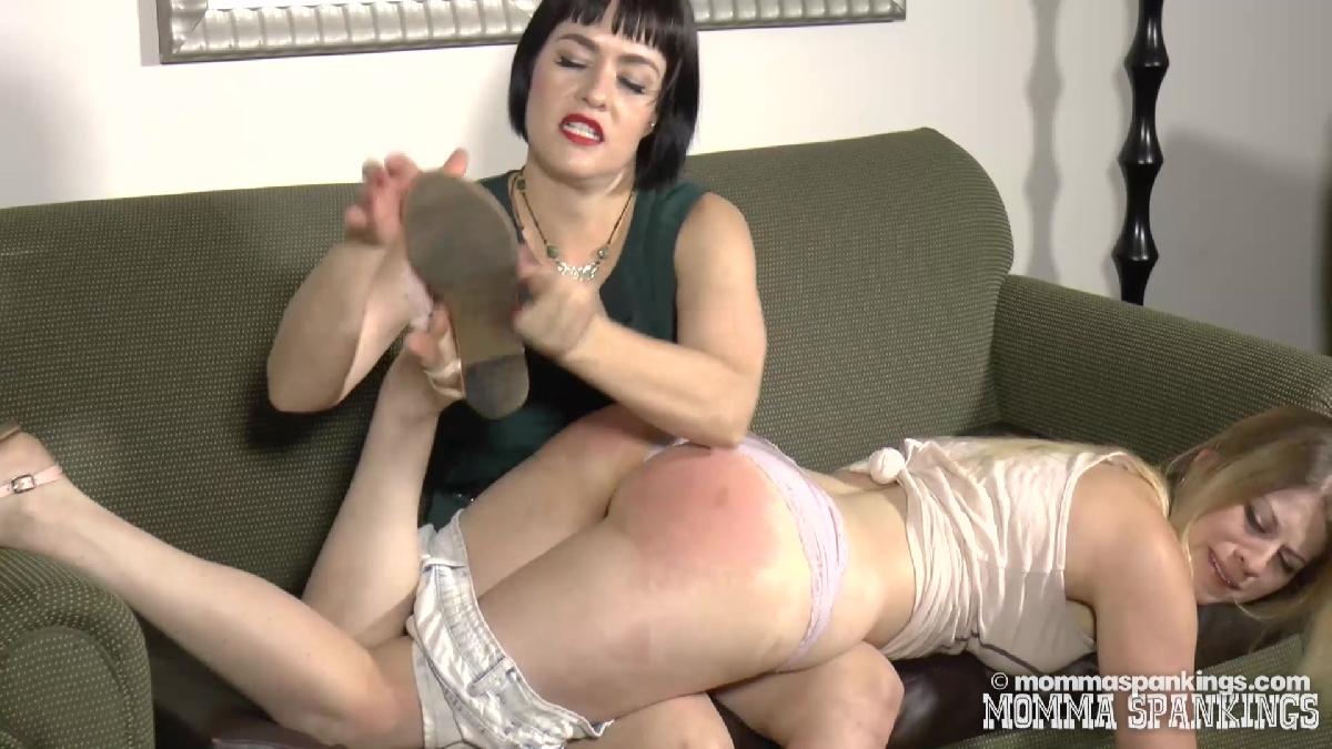 posh mature lady spanking her au pair girl #2