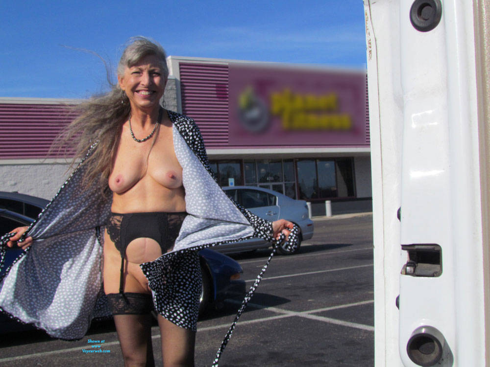 a sweet granny is flashing her awesome tits near a public commercial center #3