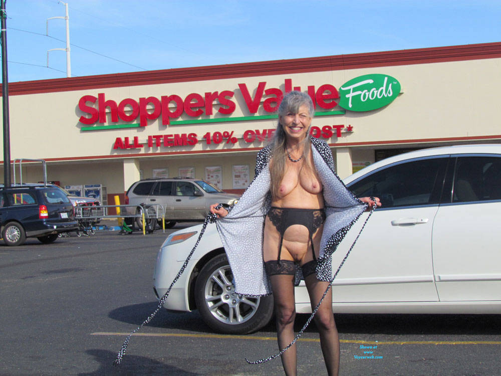 a sweet granny is flashing her awesome tits near a public commercial center #5