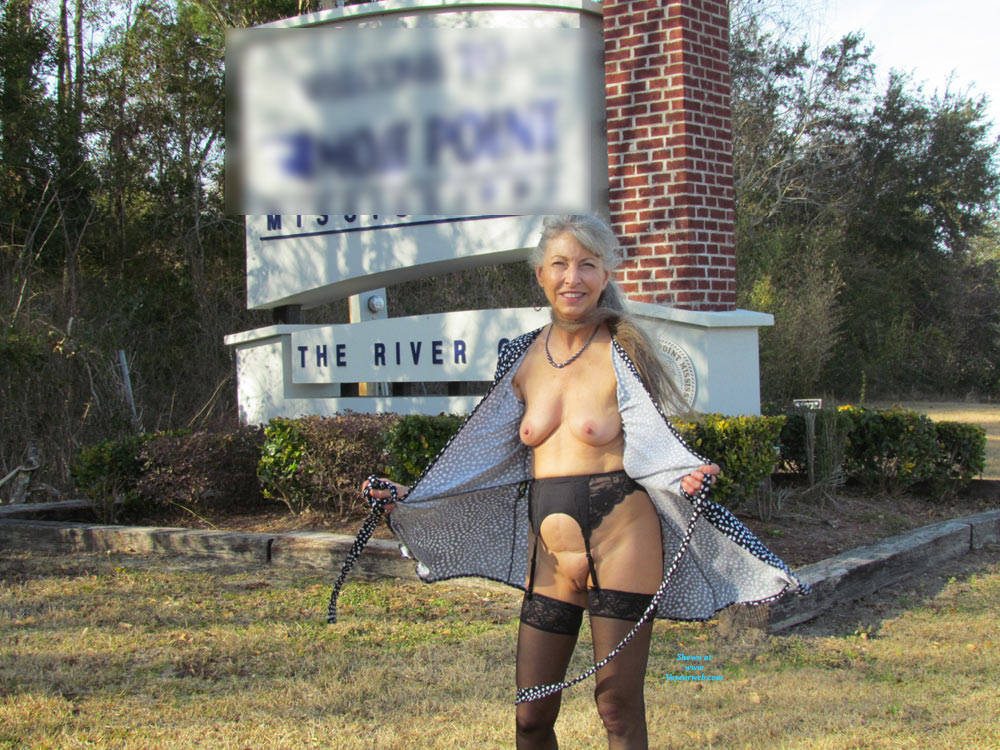 a sweet granny is flashing her awesome tits near a public commercial center #2