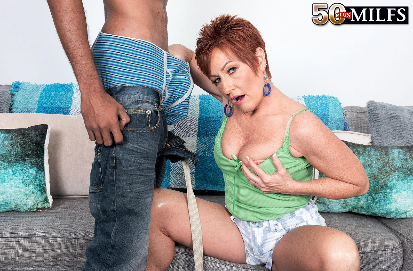chunky hot ole redhead mature is excited by the huge size of her black sugarboy picture 12