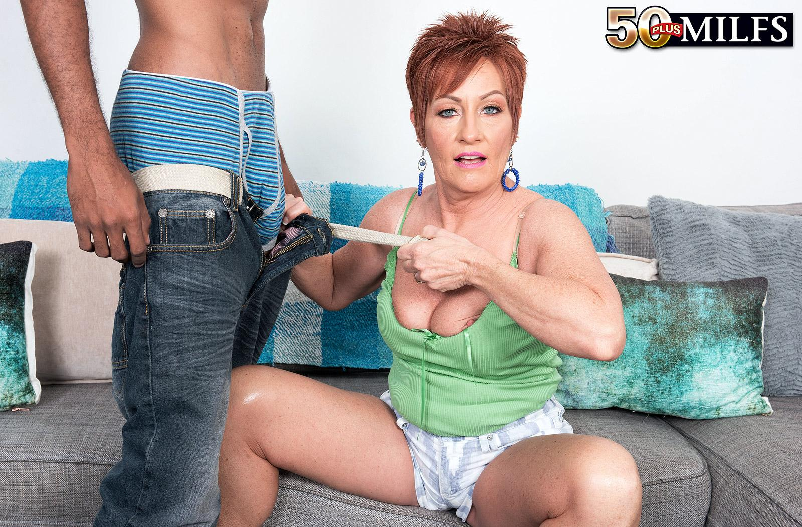 chunky hot ole redhead mature is excited by the huge size of her black sugarboy picture 10