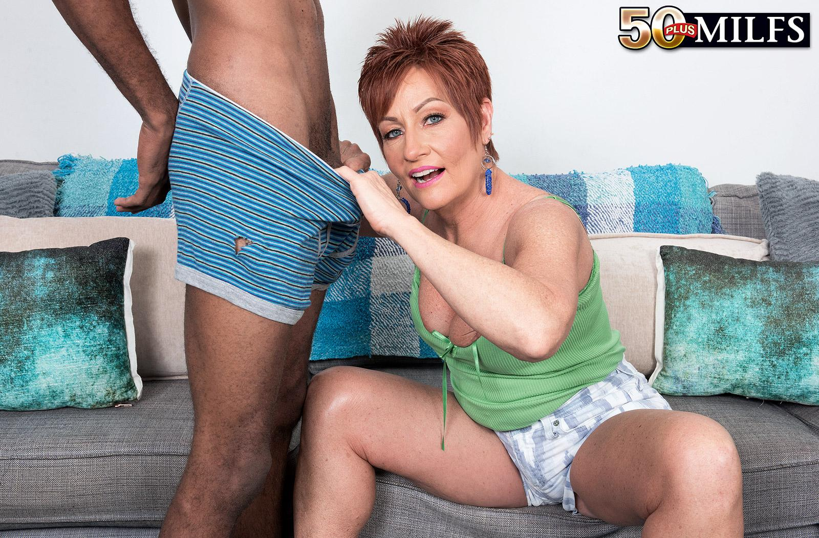 chunky hot ole redhead mature is excited by the huge size of her black sugarboy picture 14