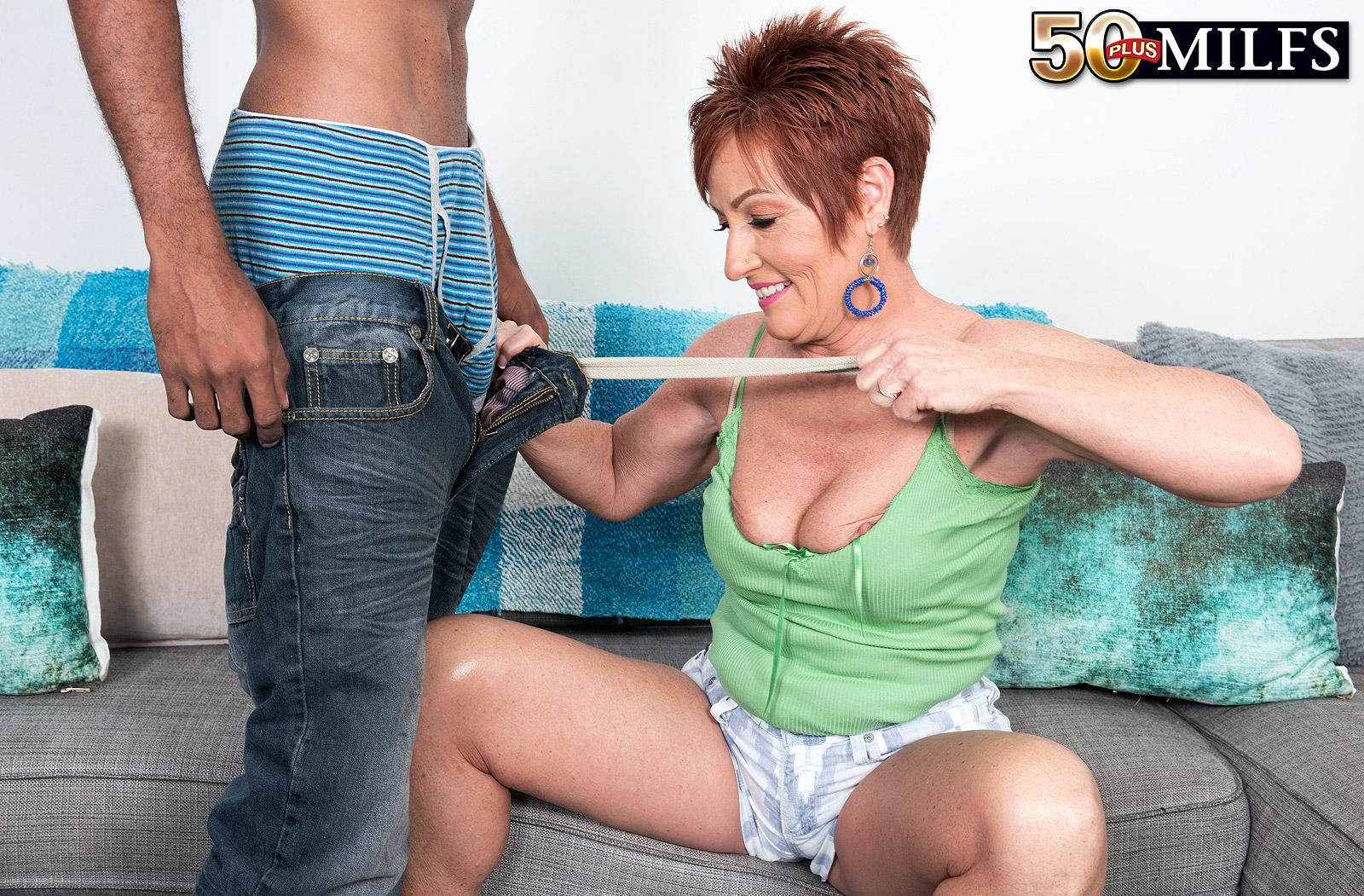 chunky hot ole redhead mature is excited by the huge size of her black sugarboy picture 11