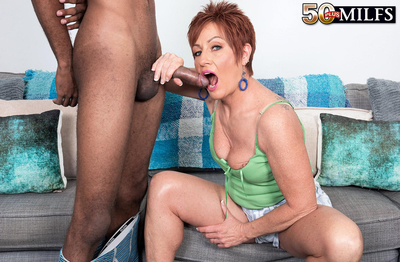 chunky hot ole redhead mature is excited by the huge size of her black sugarboy picture 15