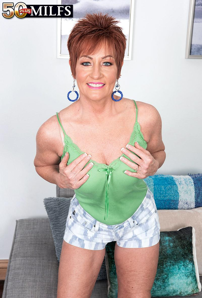 chunky hot ole redhead mature is excited by the huge size of her black sugarboy picture 5