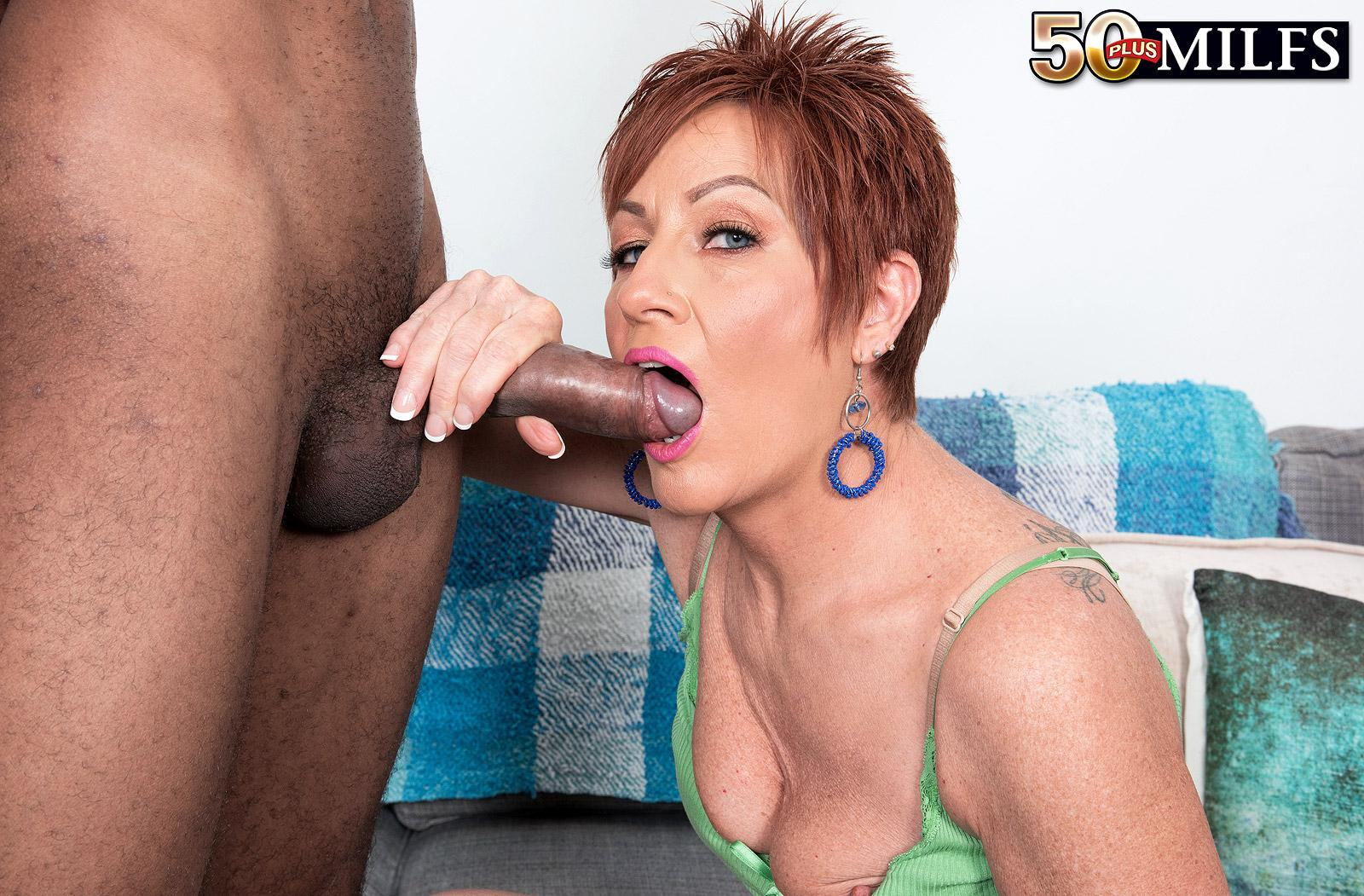 chunky hot ole redhead mature is excited by the huge size of her black sugarboy picture 16