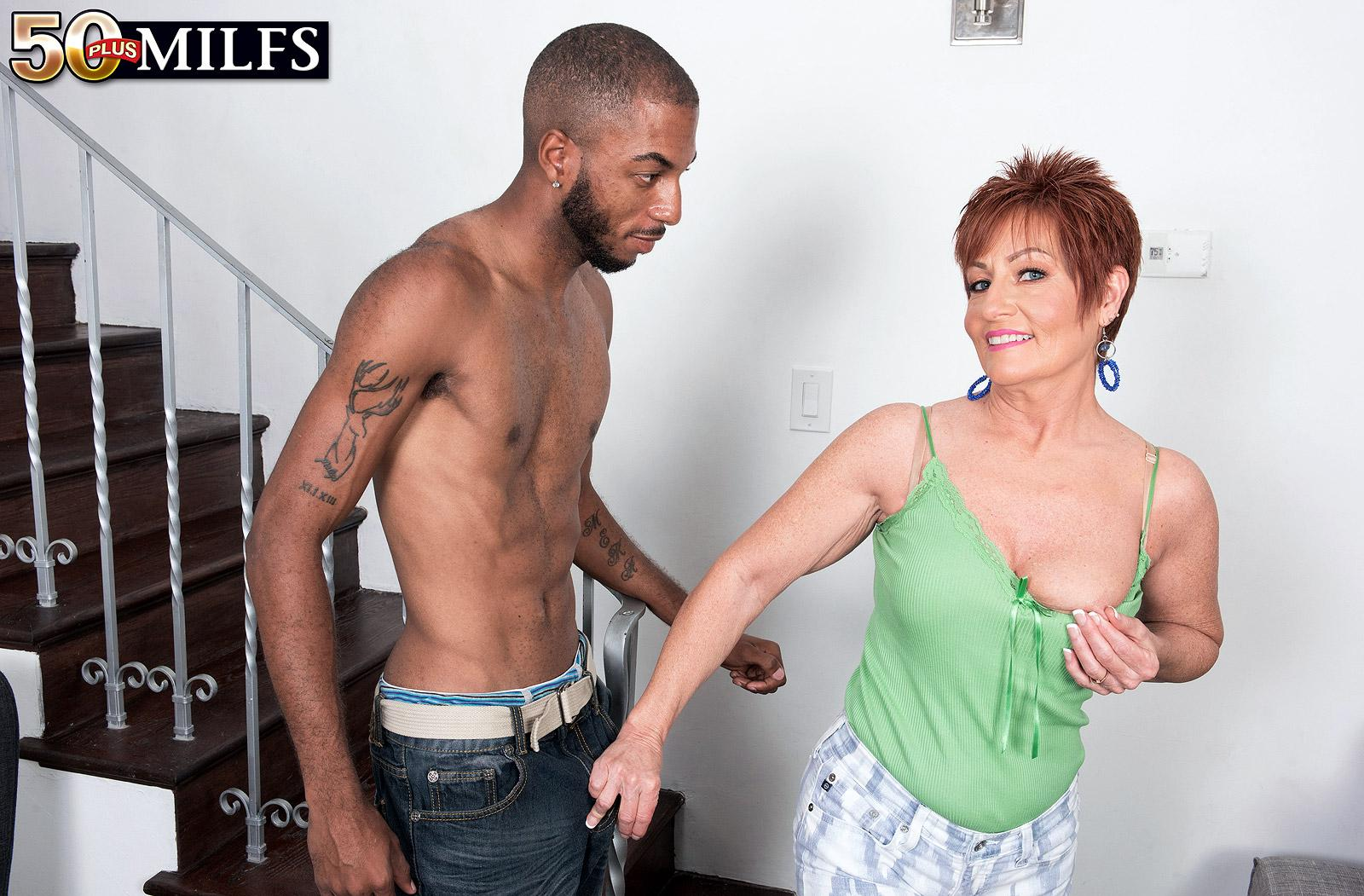 chunky hot ole redhead mature is excited by the huge size of her black sugarboy picture 8