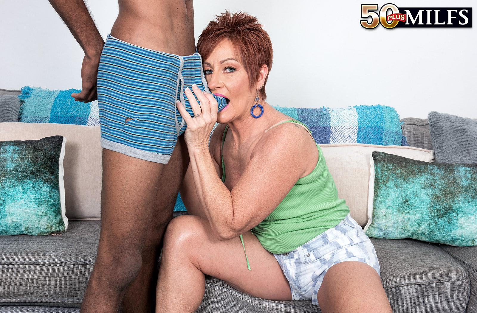 chunky hot ole redhead mature is excited by the huge size of her black sugarboy picture 13
