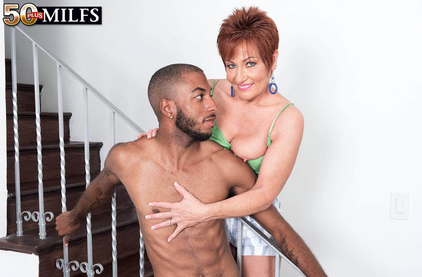 chunky hot ole redhead mature is excited by the huge size of her black sugarboy picture 7