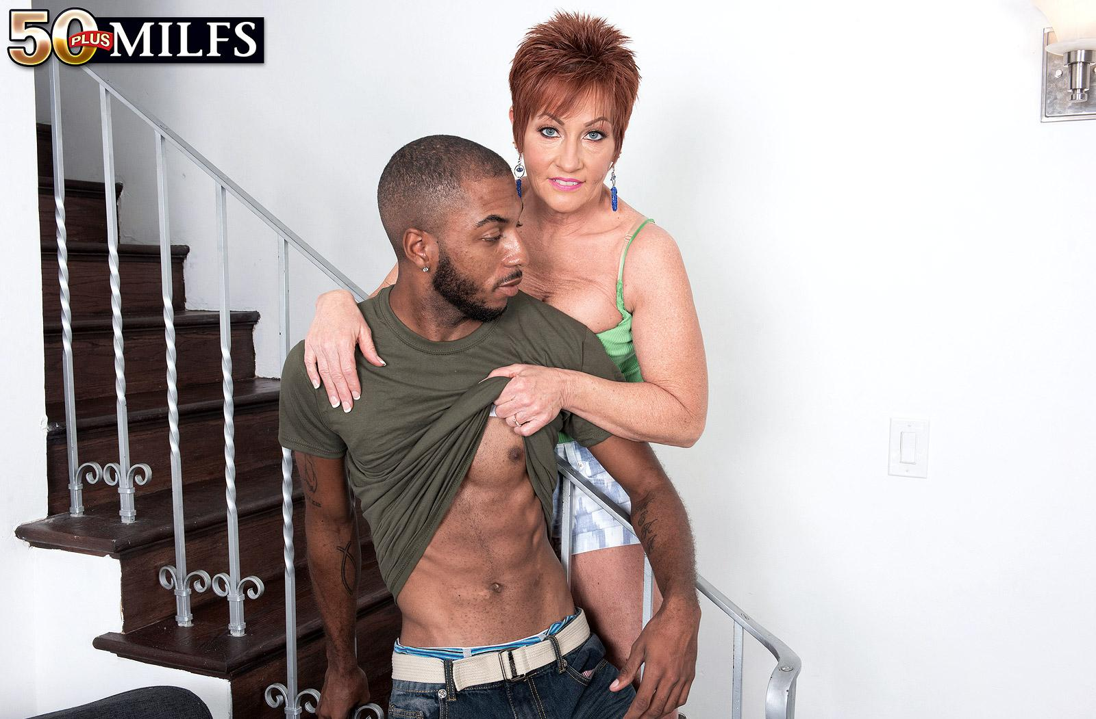 chunky hot ole redhead mature is excited by the huge size of her black sugarboy picture 6