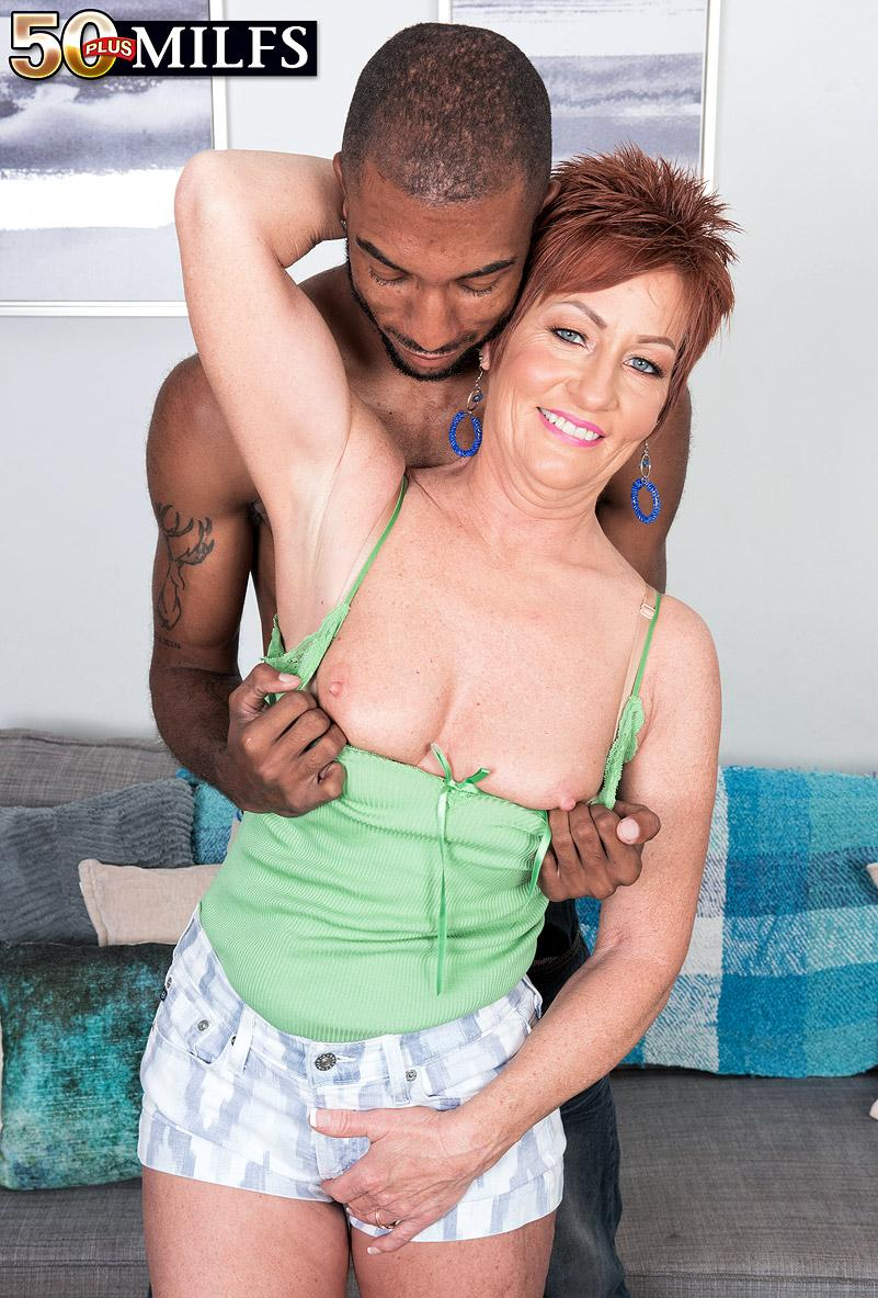 chunky hot ole redhead mature is excited by the huge size of her black sugarboy picture 9