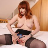 redhead marriage milf has storm free and jerks her pussy with her magic wand picture 10