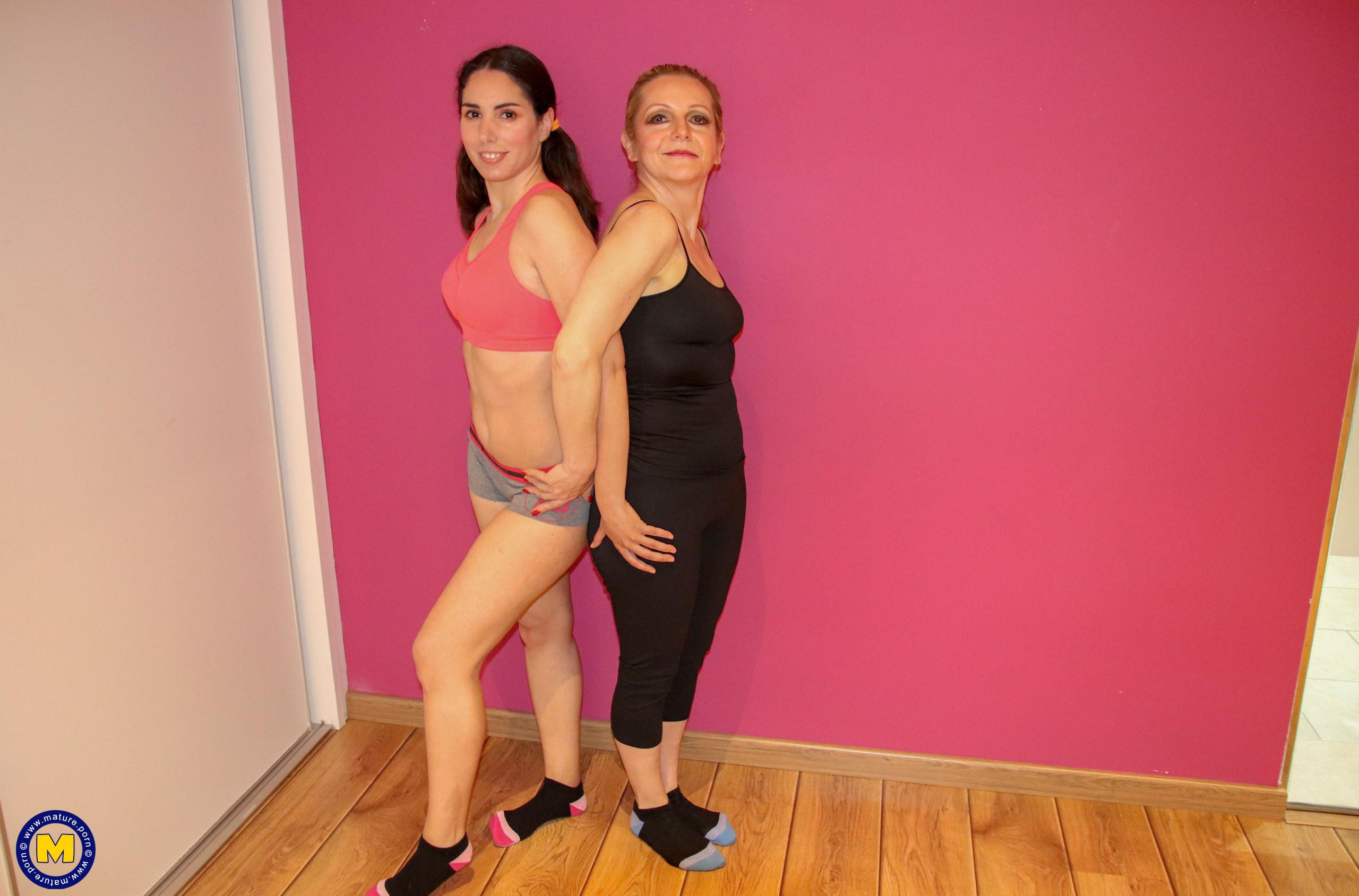 mature yoga teacher is teaching pretty young girl new lessons picture 2