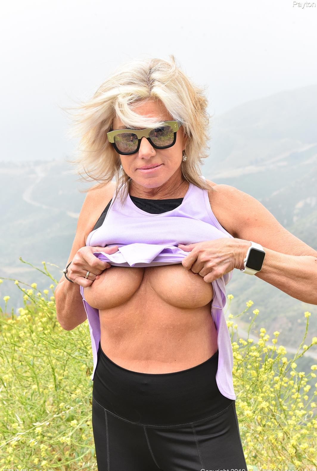 elderly women exposing her tits in nature picture 2