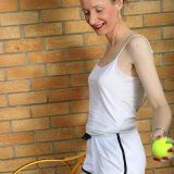 ole sportive women rubs her ole little cunt to climax after a tennis lesson picture 5