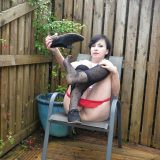 mature lady performing some upskirt masturbation in the backyard of her home picture 13