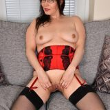 busty mature anabelle, aged 45 years exposing her shaved pussy picture 15
