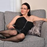 busty mature anabelle, aged 45 years exposing her shaved pussy picture 3