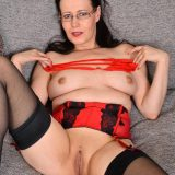busty mature anabelle, aged 45 years exposing her shaved pussy picture 10