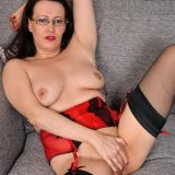 busty mature anabelle, aged 45 years exposing her shaved pussy picture 13
