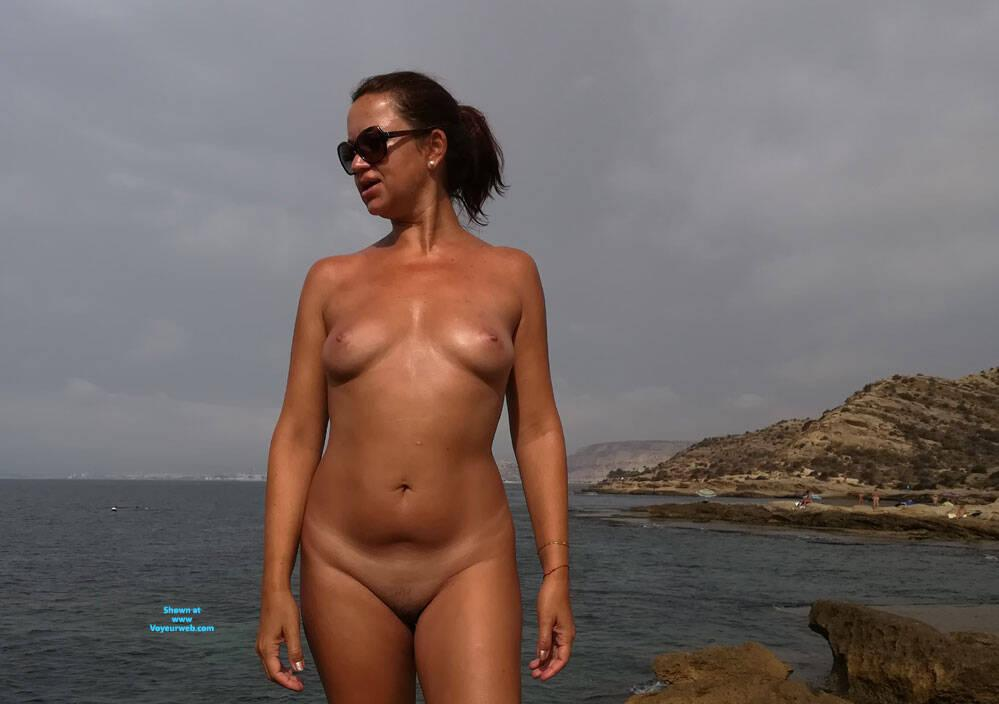 sexy german lady flashing her naked body at the beach  picture 2