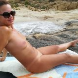 sexy german lady flashing her naked body at the beach  picture 7