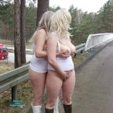 two cute old chicks distructing truck drivers on he motorway picture 6