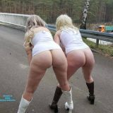 two cute old chicks distructing truck drivers on he motorway picture 7