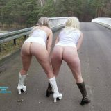 two cute old chicks distructing truck drivers on he motorway picture 5
