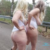 two cute old chicks distructing truck drivers on he motorway picture 3